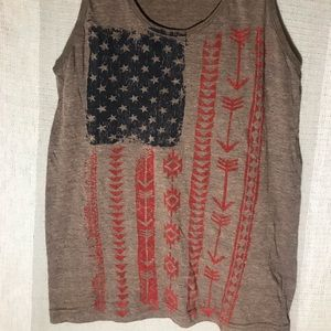 American flag graphic heathered tank top